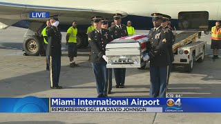 Casket Of Sgt. La David T. Johnson Arrives At Miami International Airport