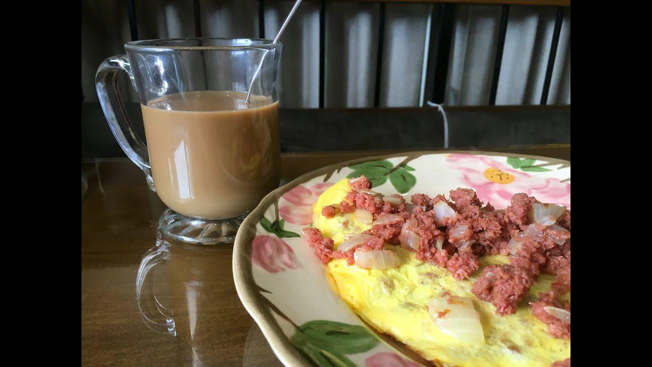 recipe breakfast filipino style corned beef omelet youtube. Black Bedroom Furniture Sets. Home Design Ideas