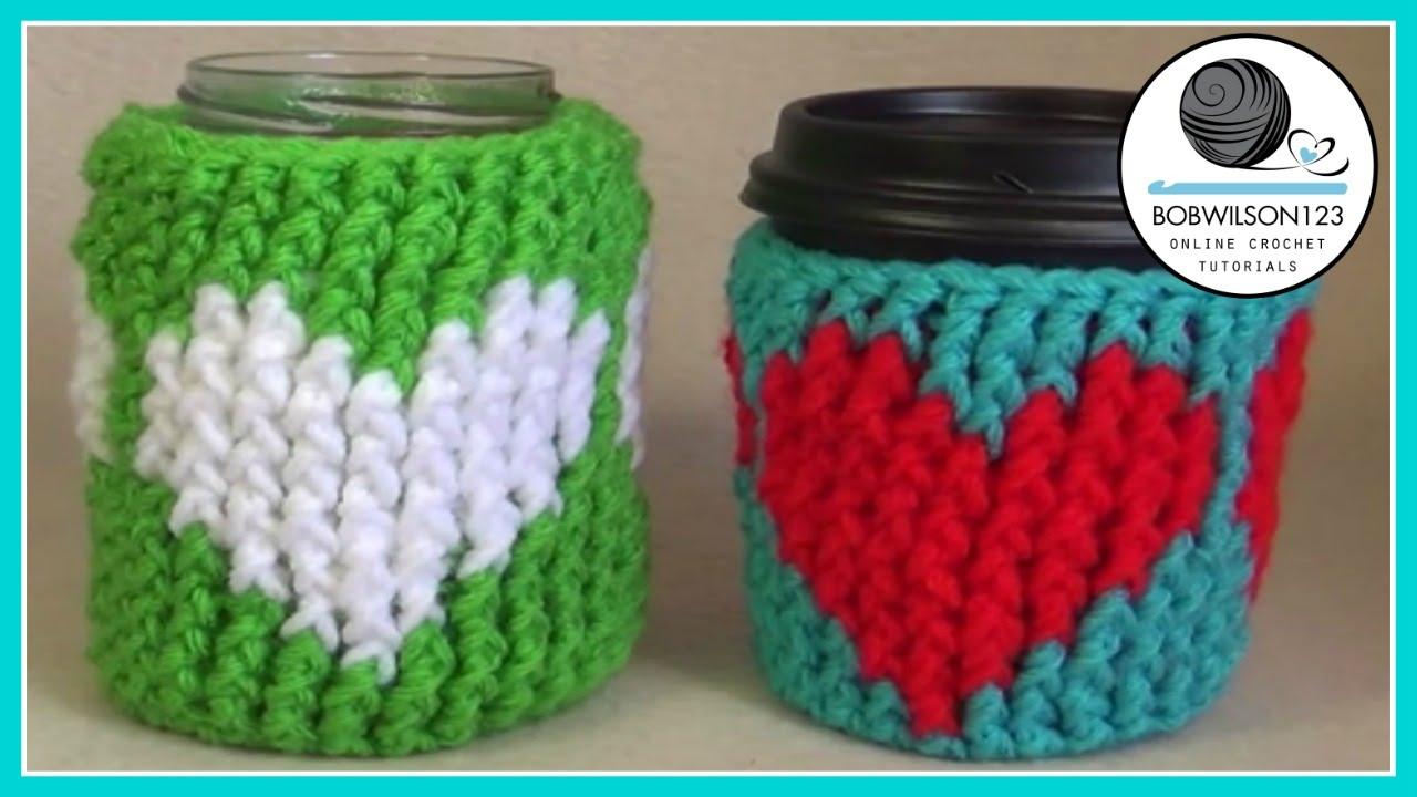 Crochet Heart Cup Cozy Tutorial Youtube