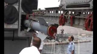 Navy Destroyer Loading and Firing an ASROC Missile