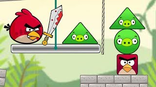 Angry Birds Pigs Out - CUT THE ROPE TO THROW TRIANGLE PIGS AND SQUARE BIRDS!