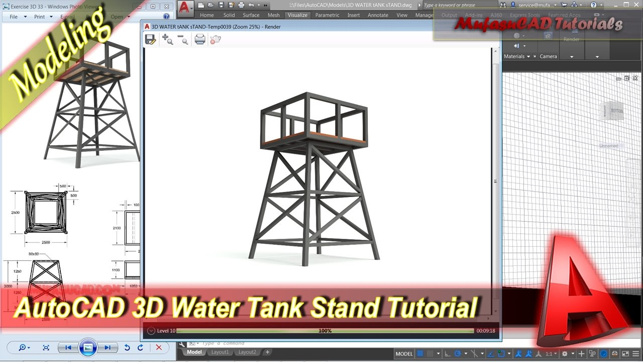 Autocad 3D Modeling Water Tank Stand Tutorial Exercise 33