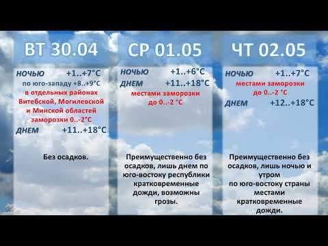 Белгидромет - Прогноз погоды на 30 апреля - 5 мая 2019 года