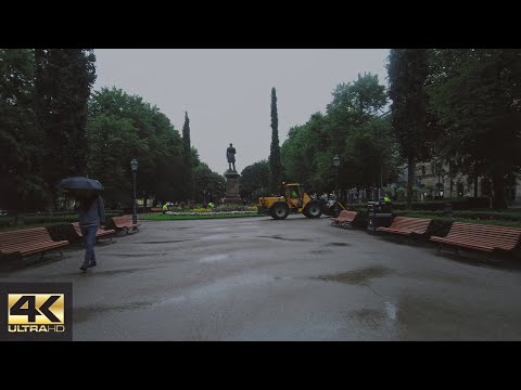 【4K】Rainy morning walk in Central Helsinki