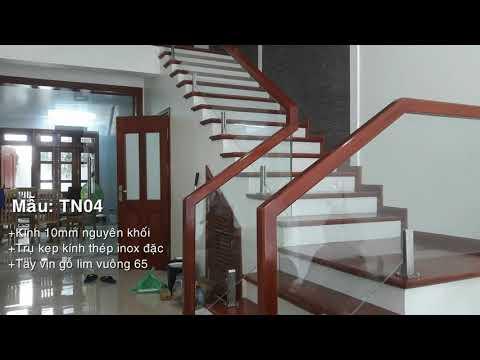 Cầu thang kính - Mẫu cầu thang kính đẹp 2021 - cau thang kinh cuong luc - cầu thang kính gỗ 2021