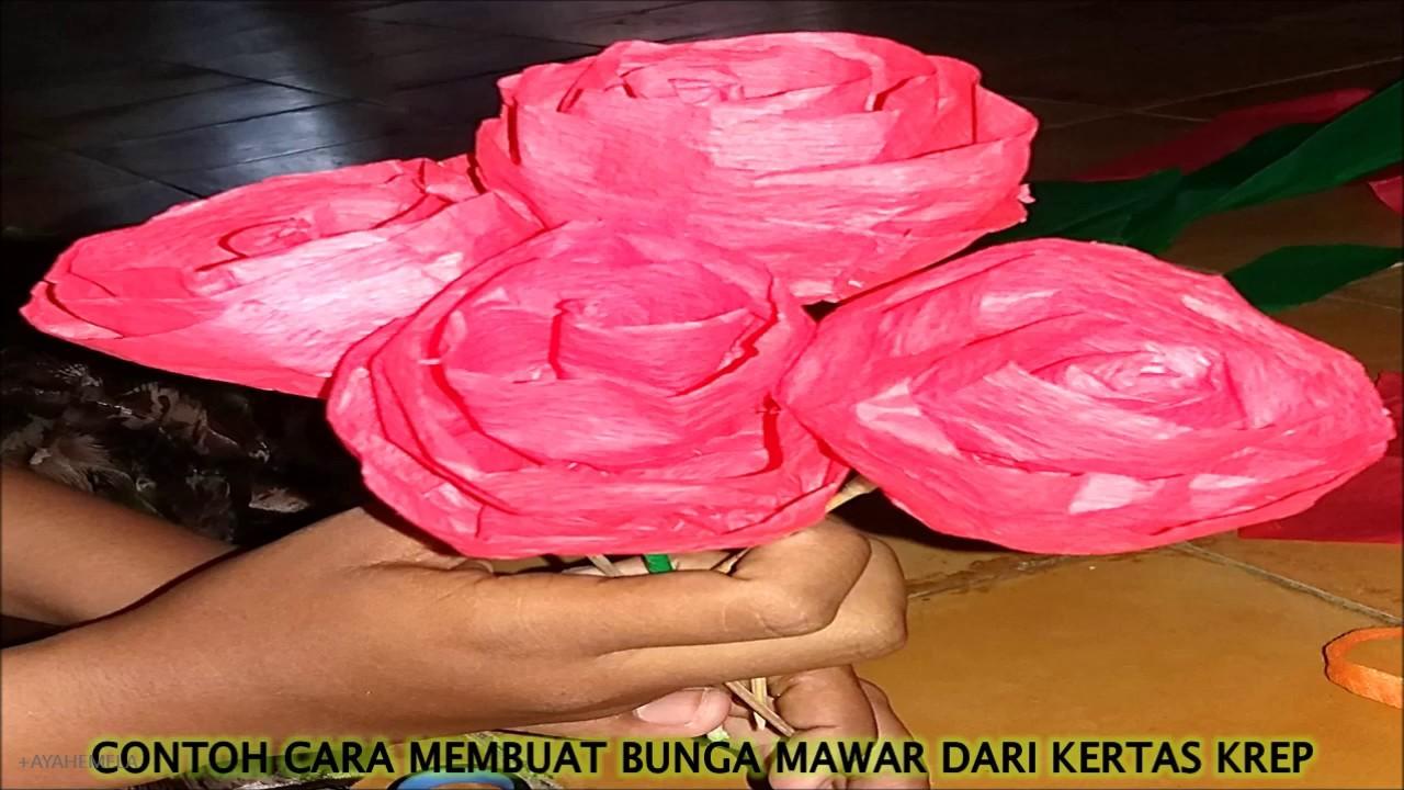 Cara Membuat Bunga Mawar Hias Dari Bahan Kertas Krep Youtube