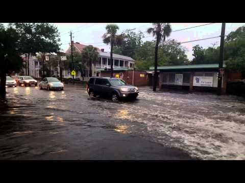 Lightning Strike and Flooding on Calhoun at Ogier, Charleston SC