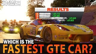 Which is the fastest GTE car in Project Cars 2?
