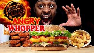 BURGER KING - ANGRY WHOPPER REVIEW - MUKBANG - EATING SHOW