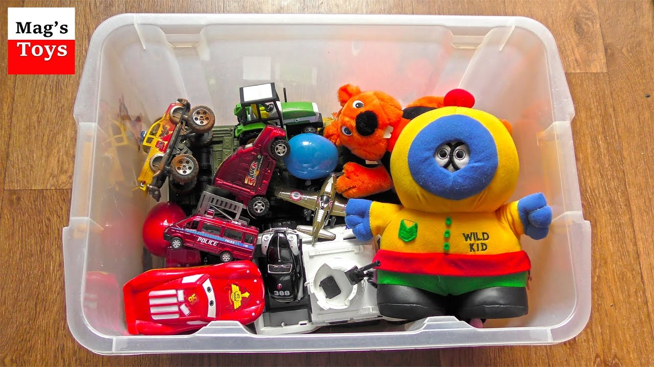 Box Of Toys Police Cars Tanks Animals And More Youtube