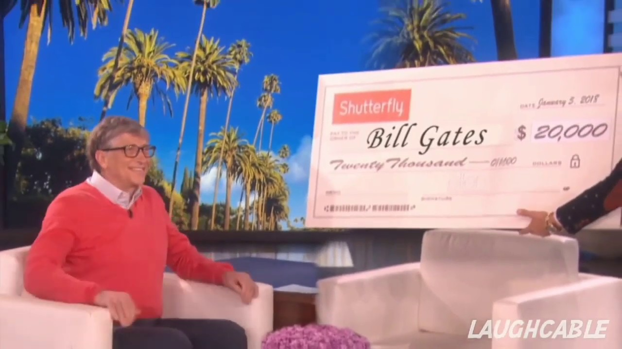 Bill gates reaction on receiving check from Ellen || Ellen Show |