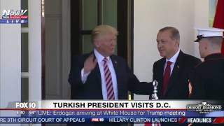 watch president trump greets turkish president erdogan at white house arrival fnn