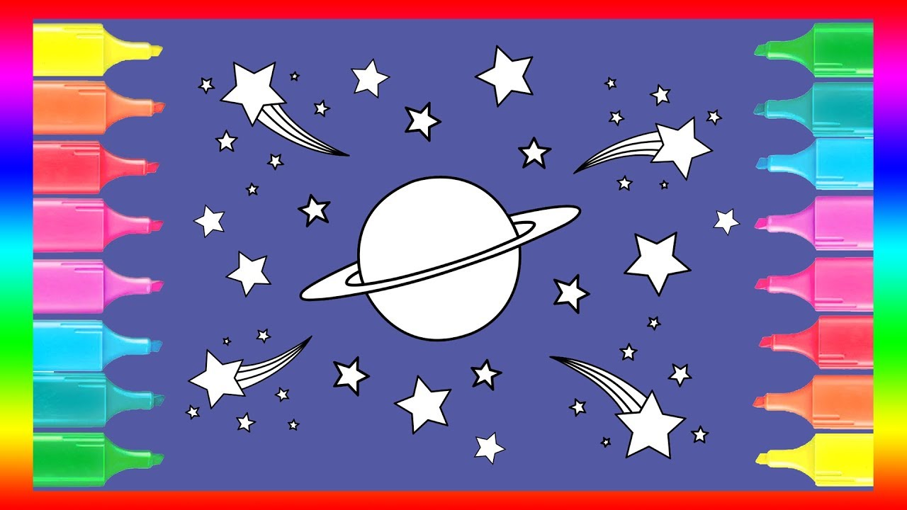 learn how to draw and colour a saturn planet and stars in