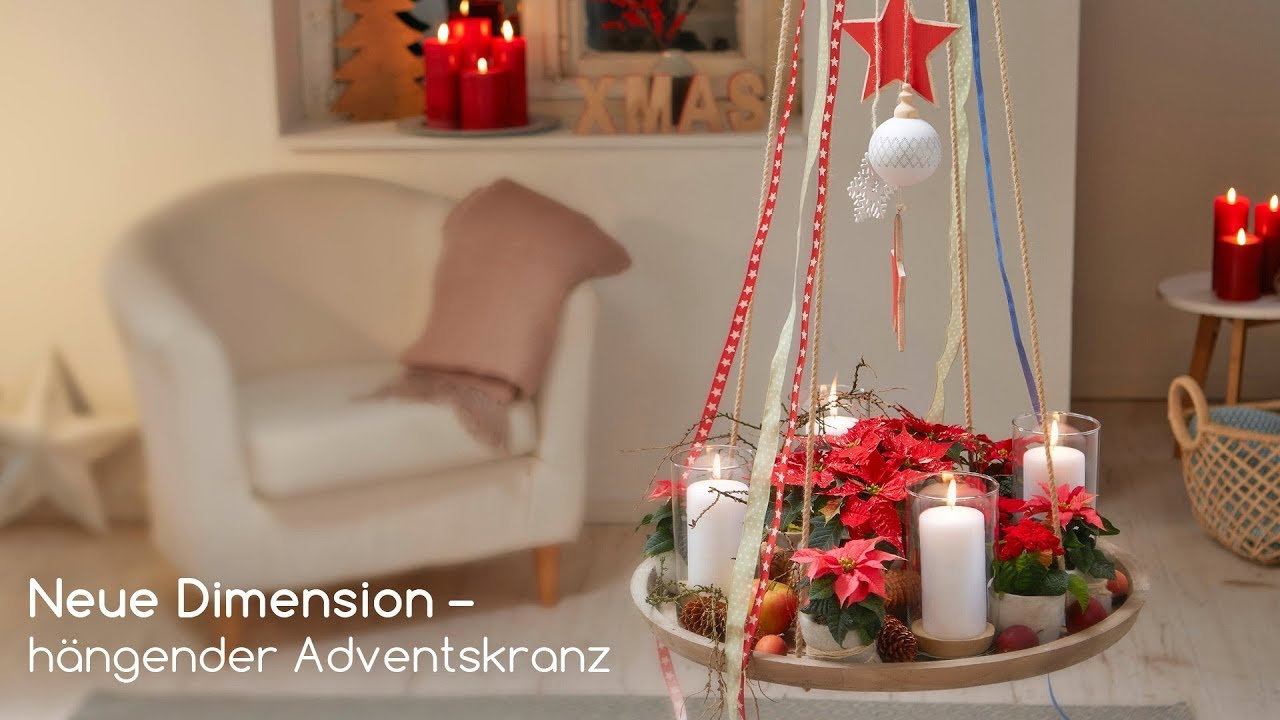diy h ngender adventskranz mit weihnachtssternen youtube. Black Bedroom Furniture Sets. Home Design Ideas