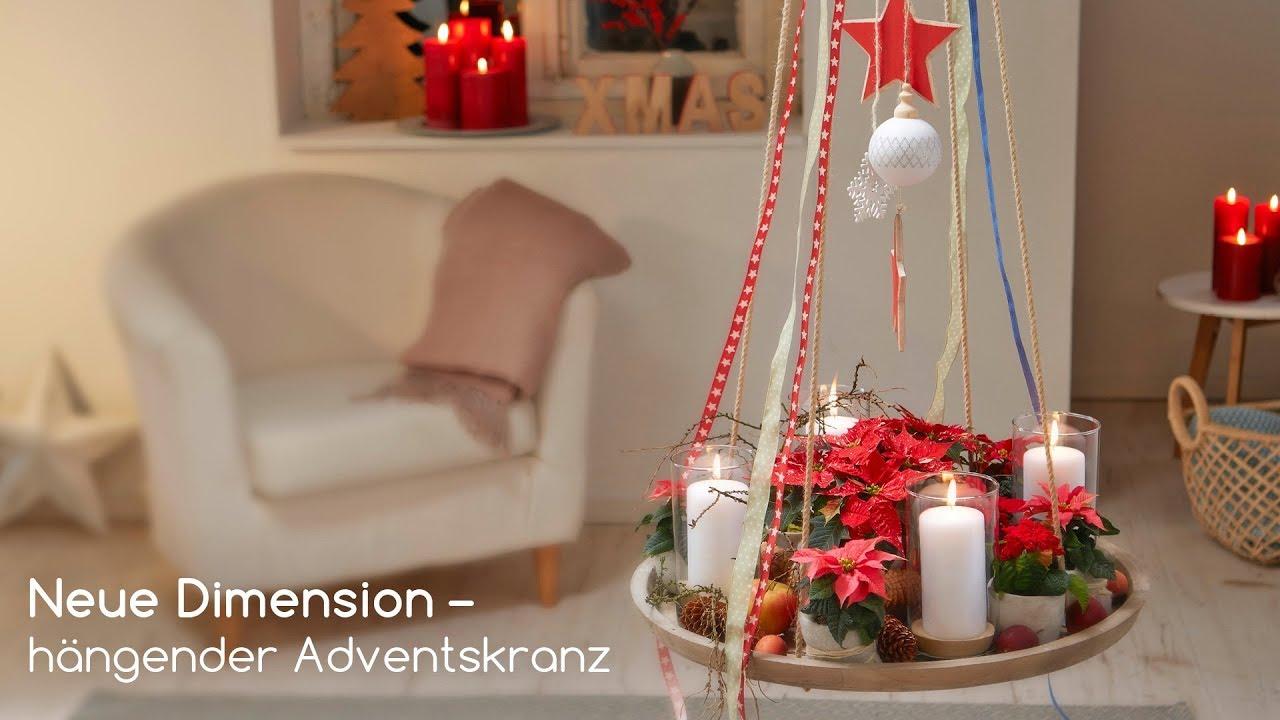 diy h ngender adventskranz mit weihnachtssternen youtube. Black Bedroom Furniture Sets. Home Design Ideas