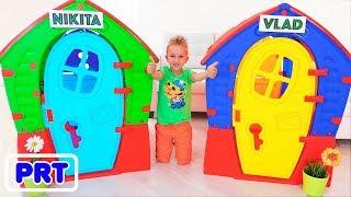 Vlad e Nikita constroem casa de jogos para crianças