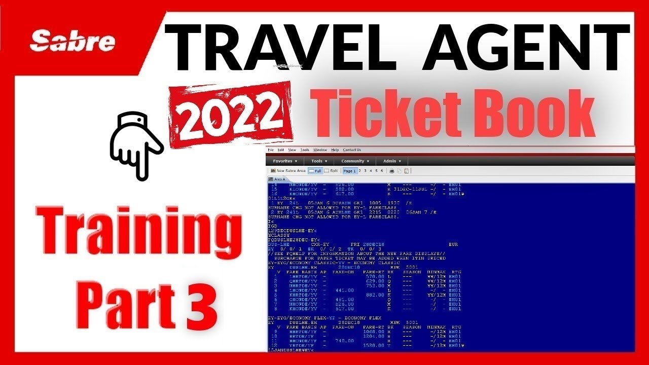 How to Book Ticket In Sabre 2020 - Travel Agent Training ...