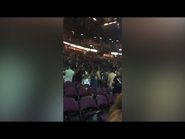 Footage from inside Manchester Arena at moment of explosion
