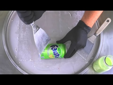 Fanta Test - How To Make Green Ice Cream Rolls With Fanta Green Apple Taste | Satisfying Food ASMR