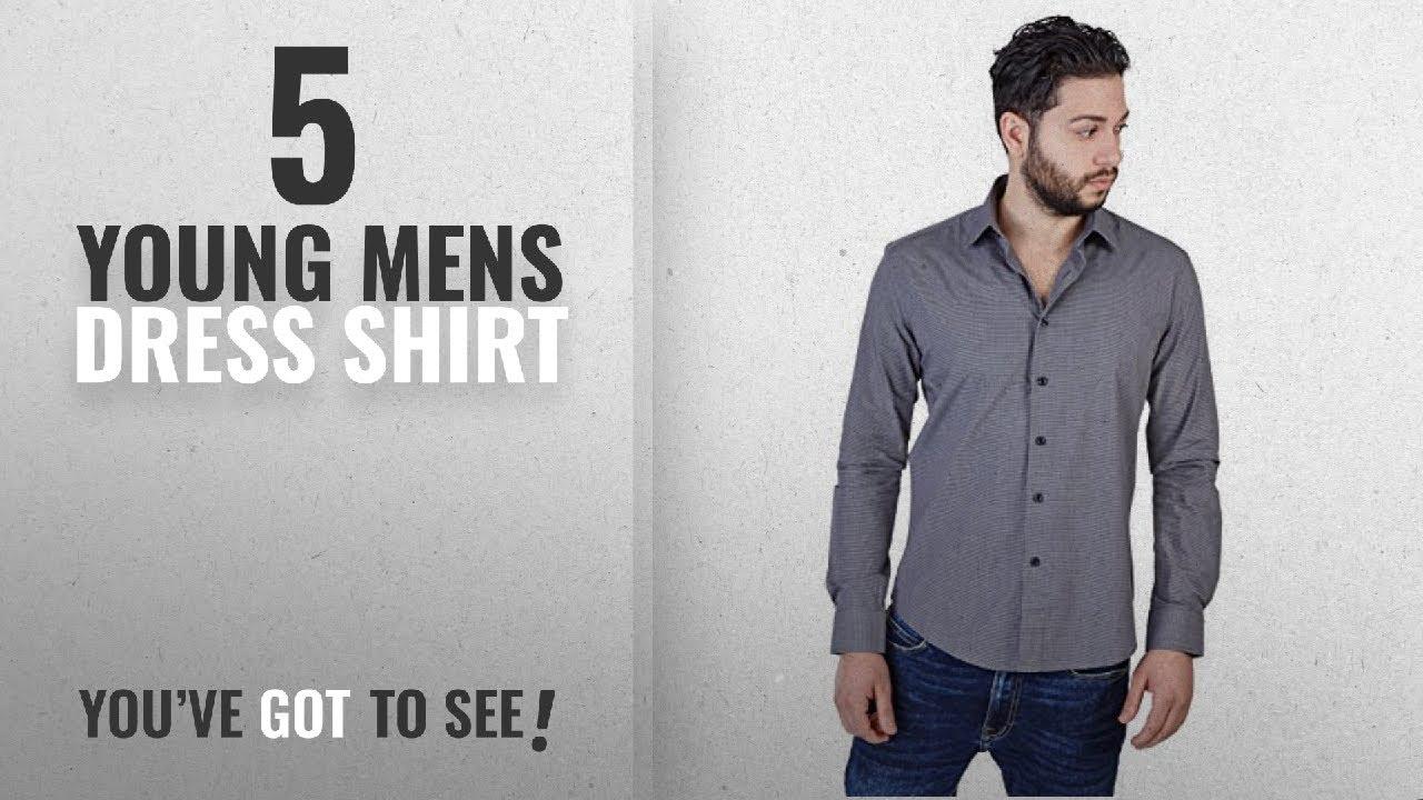 c30cec1ee03 Top 10 Young Mens Dress Shirt   Winter 2018    New Men s Slim Fit Modern Dress  Shirts Spread Collar