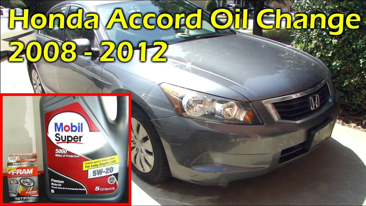 honda accord oil change 2008 2012 youtube. Black Bedroom Furniture Sets. Home Design Ideas