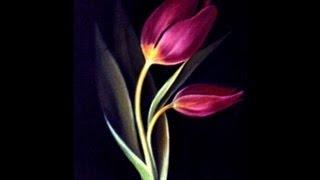 Pintando tulipas de cores variadas
