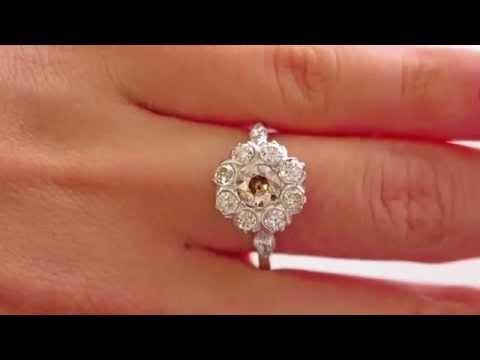 2.00CT ANTIQUE VINTAGE COGNAC DIAMOND CLUSTER ENGAGEMENT WEDDING RING