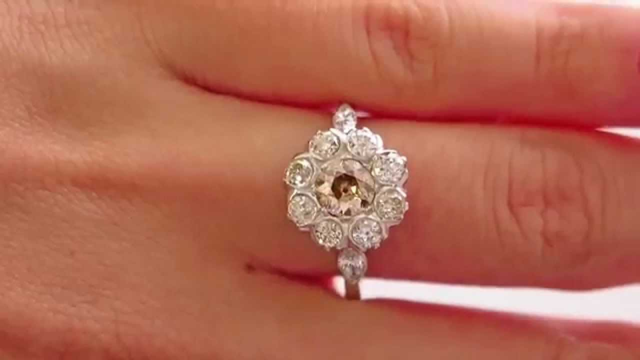 200ct Antique Vintage Cognac Diamond Cluster Engagement Wedding Ring