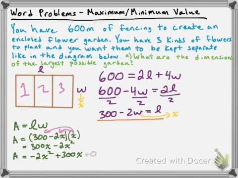 Word Problem - Maximum/Minimum Value