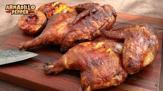 Clucker-Dusted Brick Chicken on the Pit Barrel Cooker with Peach Glaze
