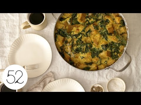 Skillet Strata with Bacon, Cheddar, andGreens