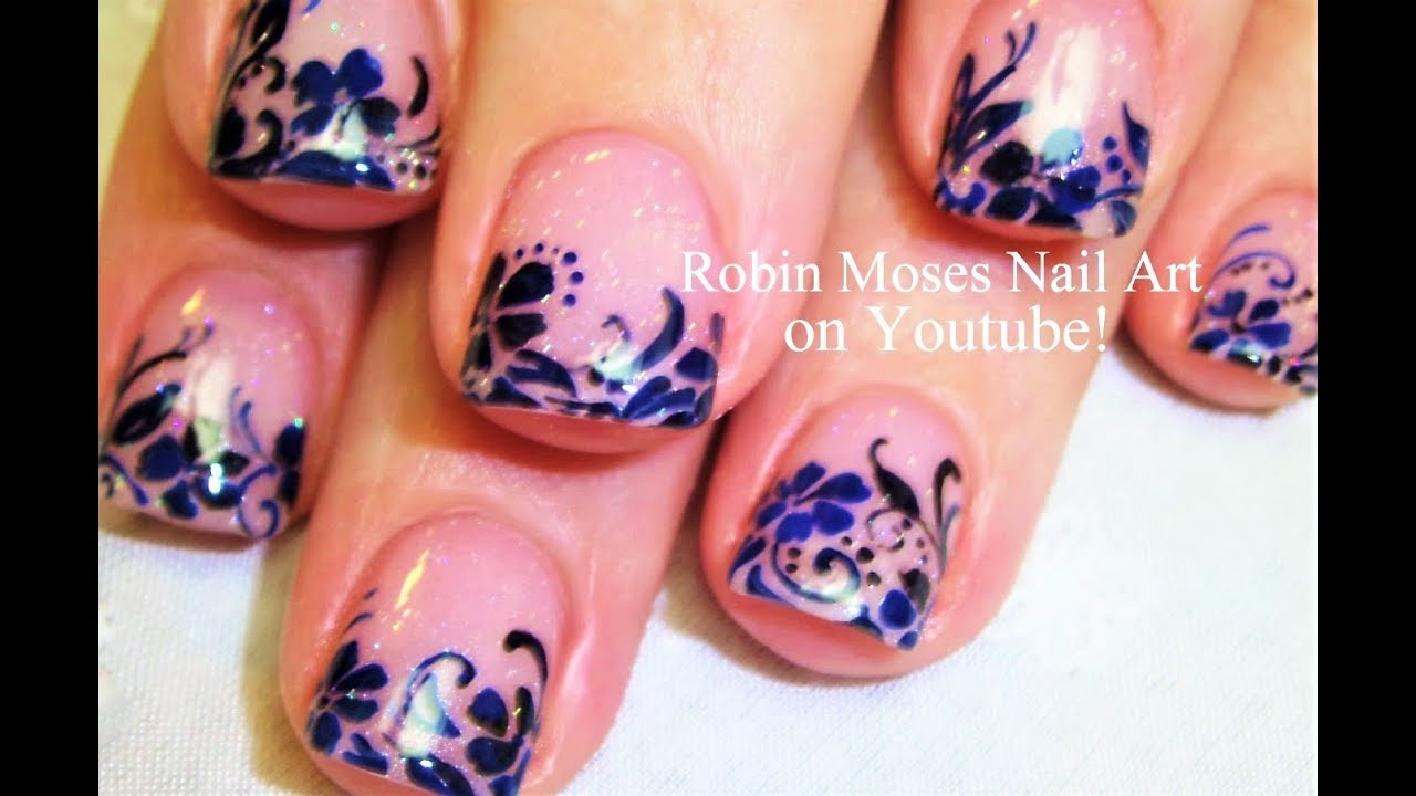 Blue Lace Nails Romantic Navy Nail Art For Short Nails Youtube