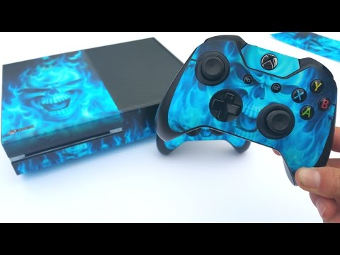 Putting an Awesome Skin On My Xbox One & Controllers (Blue Fire Skull)