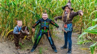 Halloween Corn Maze Adventure With The Assistant And The Engineering Family Pretend Play Fun Kids Co