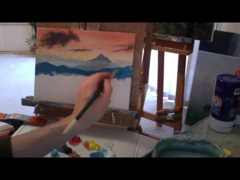 Acrylic Painting Lesson; Sunset, Mountains, & Forest