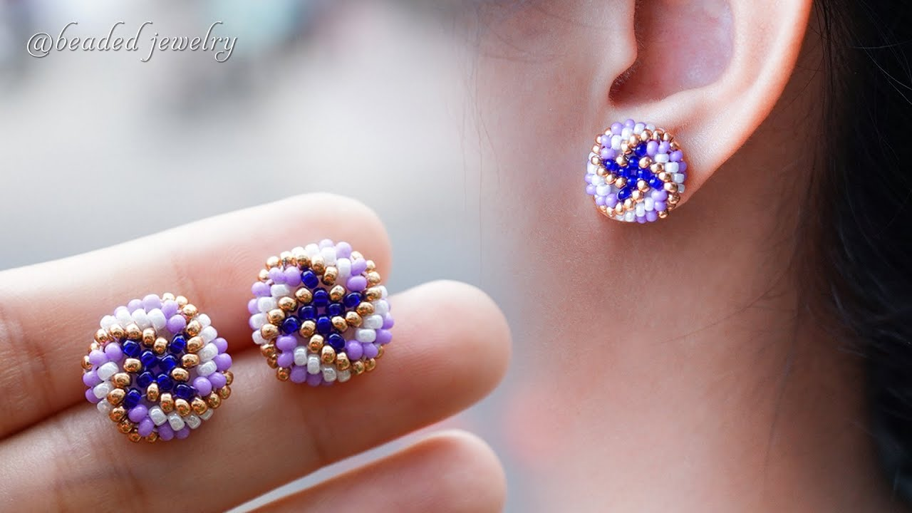 DIY seed beads stud earrings. How to make beaded earrings. Jewelry making