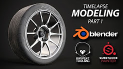 Blender - Midpoly wheel modeling and texturing timelapse [Part 1]