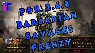 Diablo III PTR 2.6.8 - Barbarian Horde of the Ninety Savages Frenzy set testing (GR 107)
