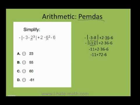 How to simplify expressions using PEMDAS PERT Test Practice - YouTube