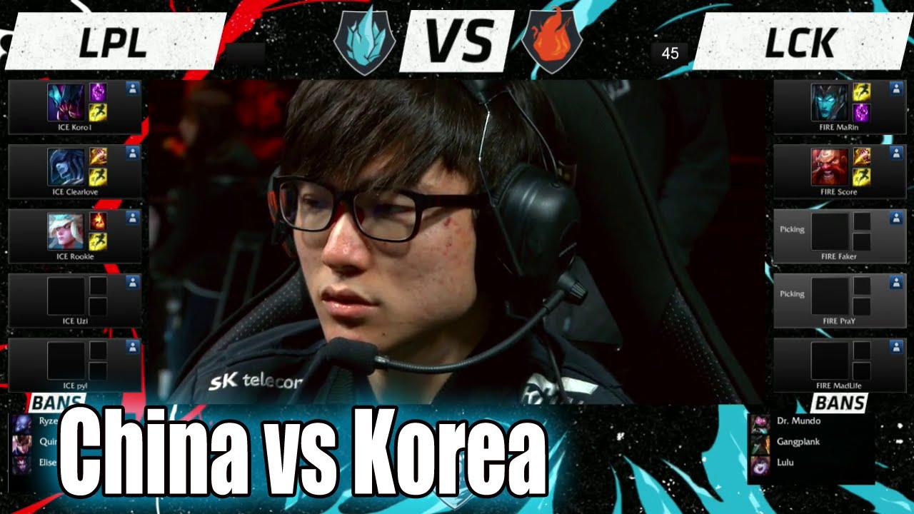 LPL vs LCK | Day 2 LoL All-Star 2015 in Los Angeles | China (ICE) vs Korea  (FIRE) Allstar - YouTube