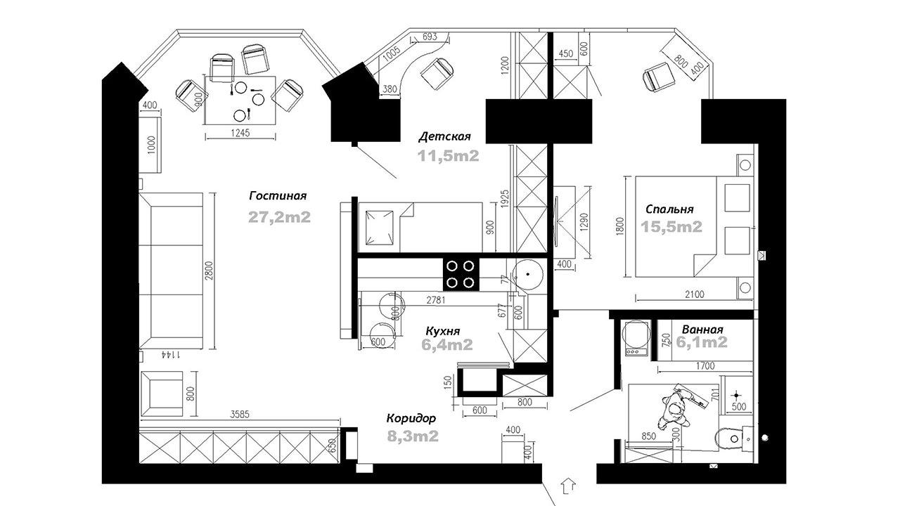 План схема 3 комнатной квартиры фото 866