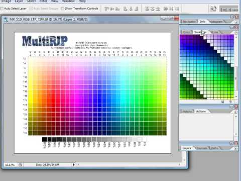 Using the MultiRIP RGB Color Chart  Swatches - Photoshop - YouTube