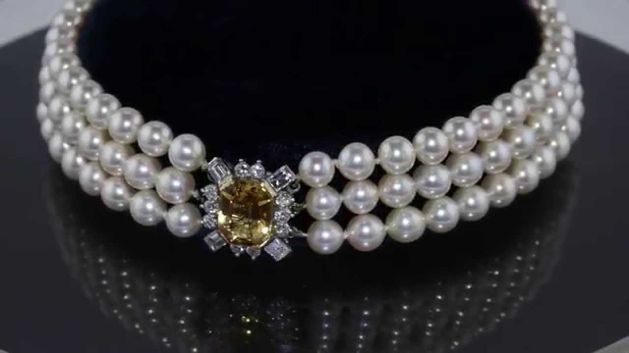 db199355e5b1f Exquisite Three Strand Pearl Choker with Topaz and Diamond Clasp in Fitted  Garrard Box M310