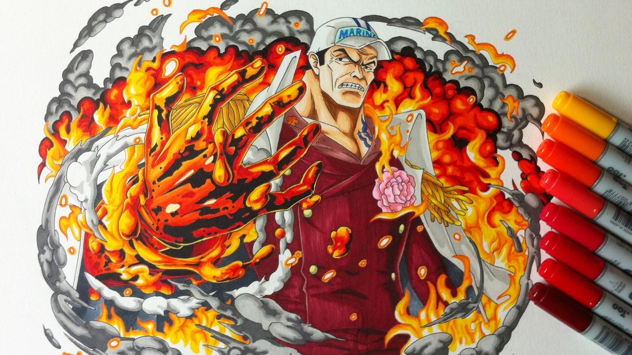 Drawing Admiral Akainu Sakazuki One Piece Youtube