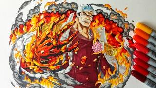 Drawing Admiral Akainu (Sakazuki) - One Piece