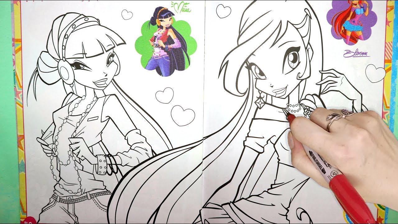 Winx Club Coloring Book Page Winx Club How To Color Coloring Markers Videos Learn Colors Kids Youtube