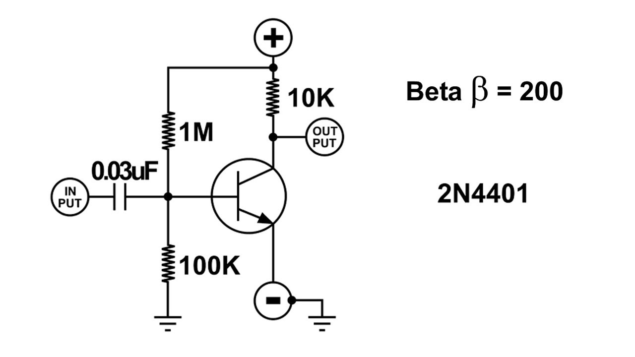 audio amplifier circuit and transistor beta  u03b2