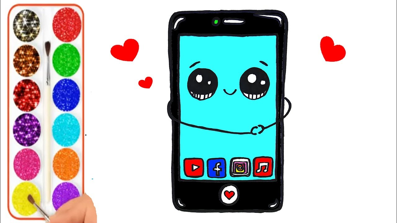 Como Dibujar Y Colorear Un Telefono Celular Kawaii