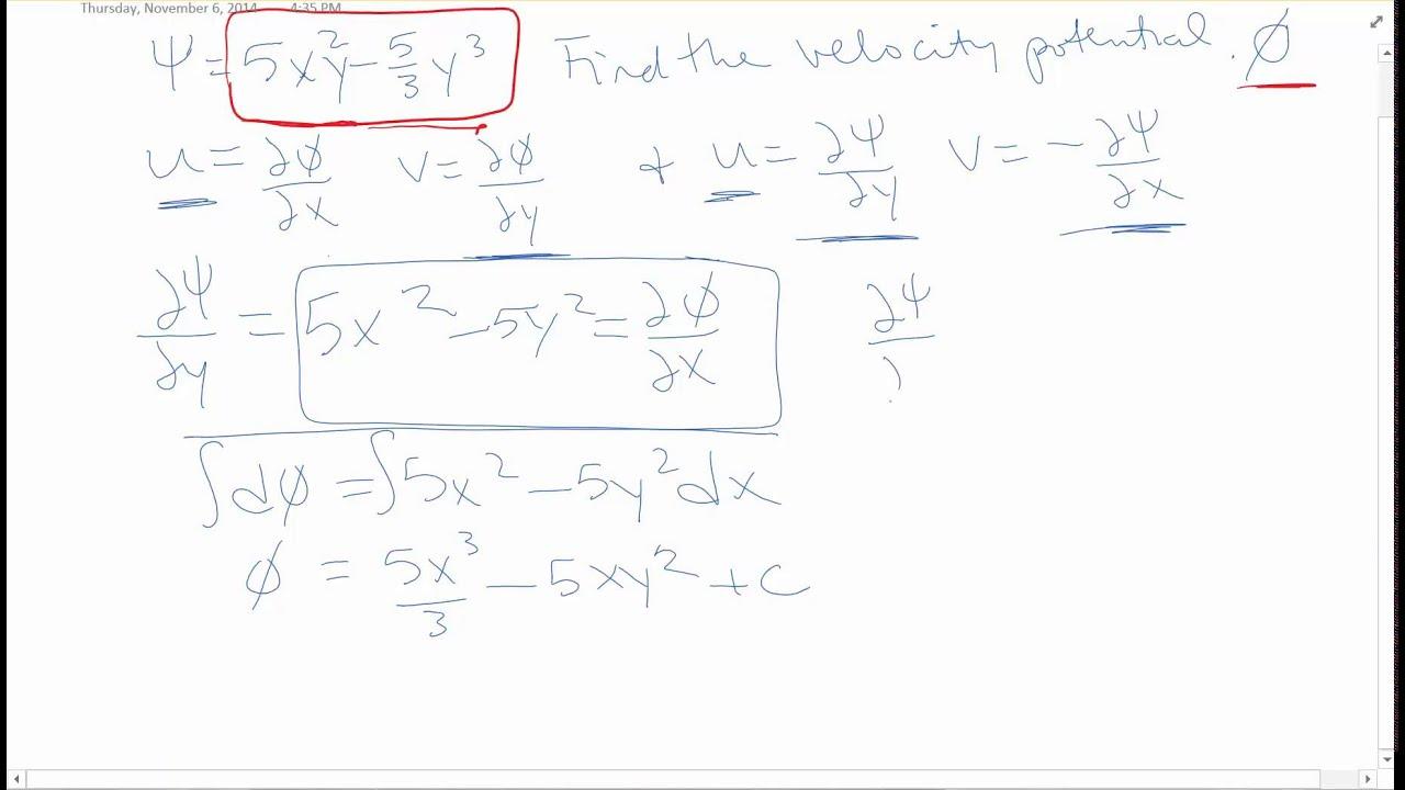 fluid mechanics prob 4 hmwk 11 stream function and