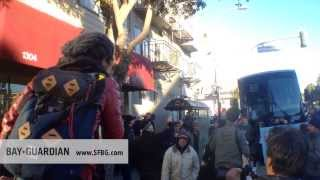 """Tech protest 2.0: San Francisco rally blocks Apple bus, shouts """"JOIN US!"""""""